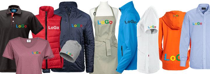 Profilkläder och arbetskläder med broderad logotyp, olika placeringar.